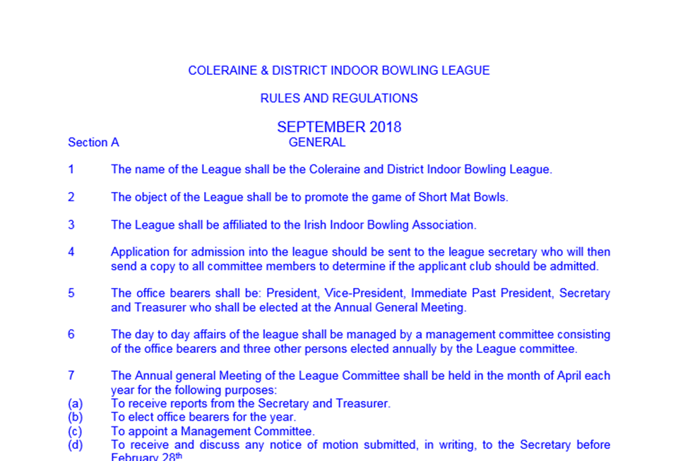 League Rules